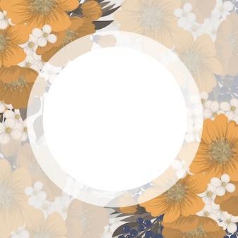 Dessin de bordure de fleurs - cadre jaune