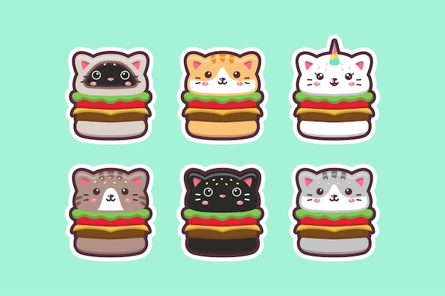 Dessin de burger de chat kawaii mignon