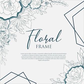 Dessin de cadre floral dessiné à la main