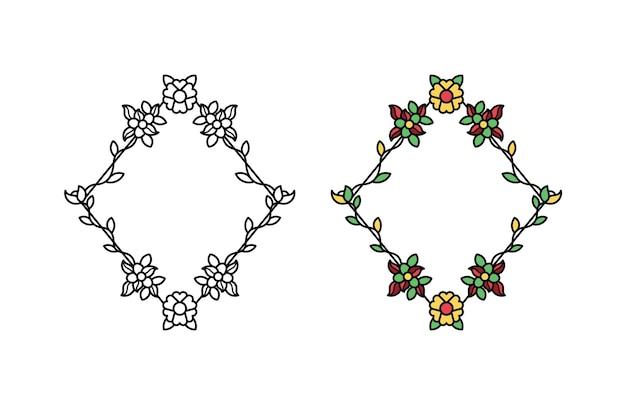Dessin de cadre nature floral et feuille de vignes