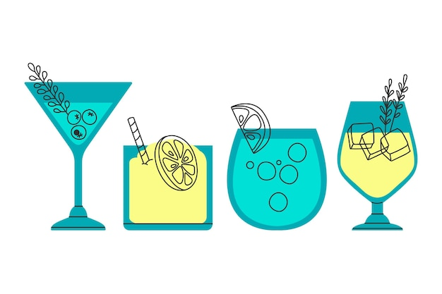 Dessin de collection de cocktails
