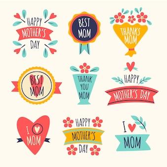 Dessin de la collection d'étiquettes de la fête des mères
