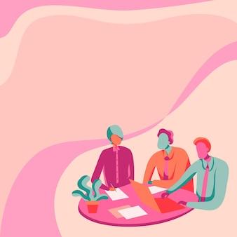 Dessin de collègues assis sur un bureau avec un ordinateur portable et des papiers montrant la conception de collègues de conversation