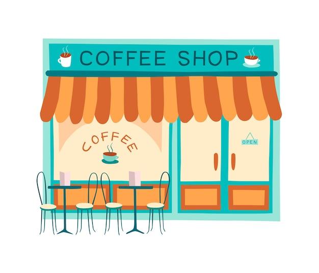Dessin coloré du devant du café et du restaurant
