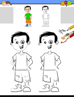 Dessin et coloriage d'une feuille de travail avec un garçon mignon