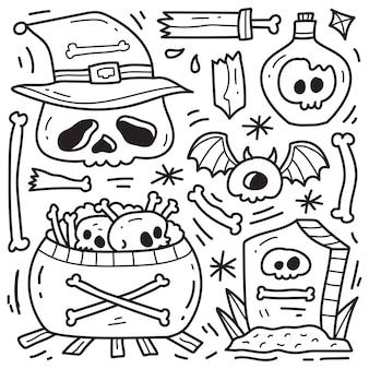 Dessin à colorier de dessin animé halloween kawaii doodle dessinés à la main
