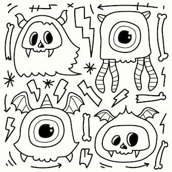 Dessin à colorier de dessin animé monstre doodle dessinés à la main