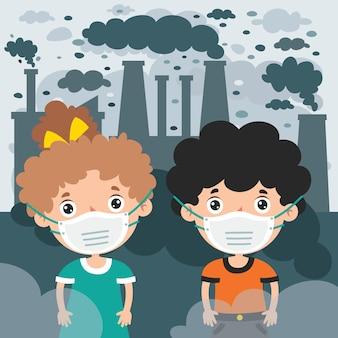 Dessin de concept de la pollution atmosphérique