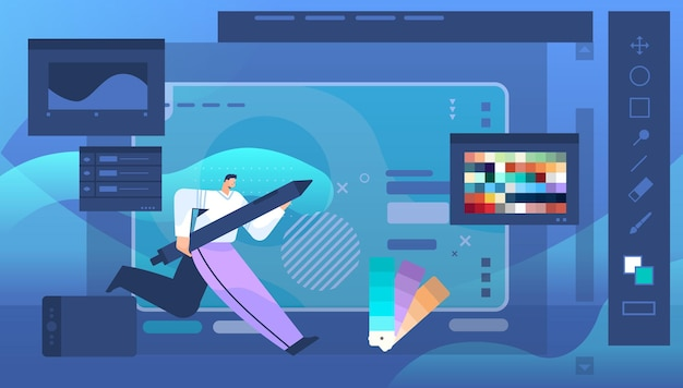 Dessin de concepteur avec un stylo dans l'éditeur graphique homme créant l'interface utilisateur de site web design graphique ui concept de service créatif illustration vectorielle pleine longueur horizontale