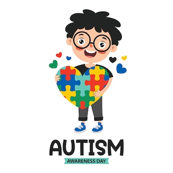 Dessin conceptuel de la sensibilisation à l'autisme