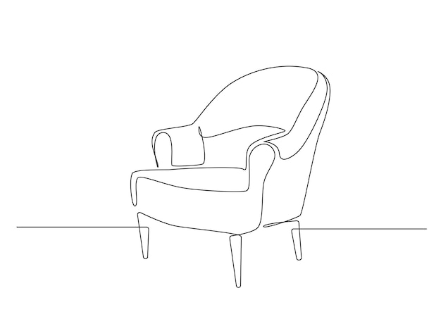Dessin continu d'une ligne de fauteuil mobilier élégant scandinave dans un griffonnage de style linéaire simple...
