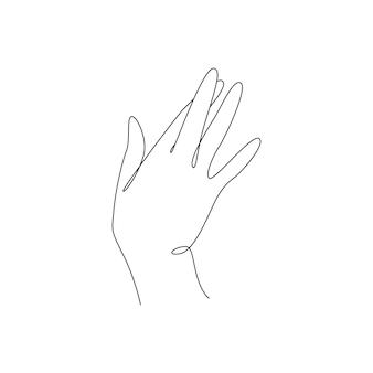 Dessin continu d'une ligne d'un geste de la main d'une femme, symbole de doigts croisés de menteur chanceux et de faux i...