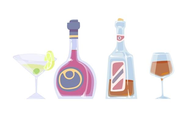 Dessin en couleur de dessin animé de bouteilles et de verres avec des boissons alcoolisées sur fond blanc. illustration vectorielle.