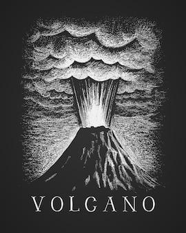 Dessin à la craie de l'éruption volcanique
