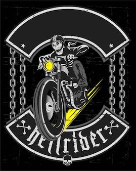 Dessin de crâne moto vintage à la main - vecteur