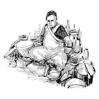 Dessin de la cuisinière de cuisine de rue en inde