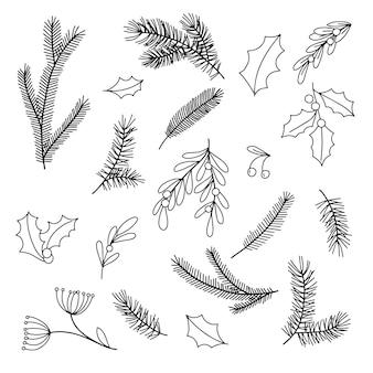 Dessin dans le style des branches de griffonnage de sapins, de feuilles de sapins et de baies de houx de gui