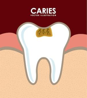 Dessin dentaire sur illustration vectorielle fond rouge