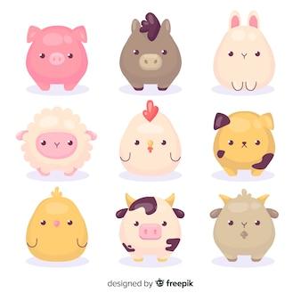 Dessin de dessin animé avec collection d'animaux