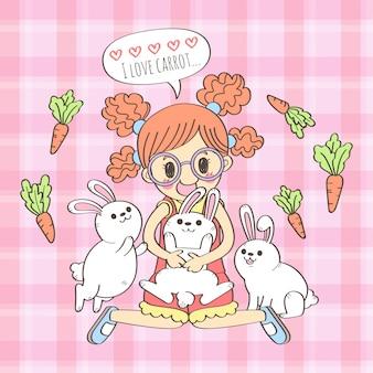 Dessin de dessin animé mignon fille et lapins