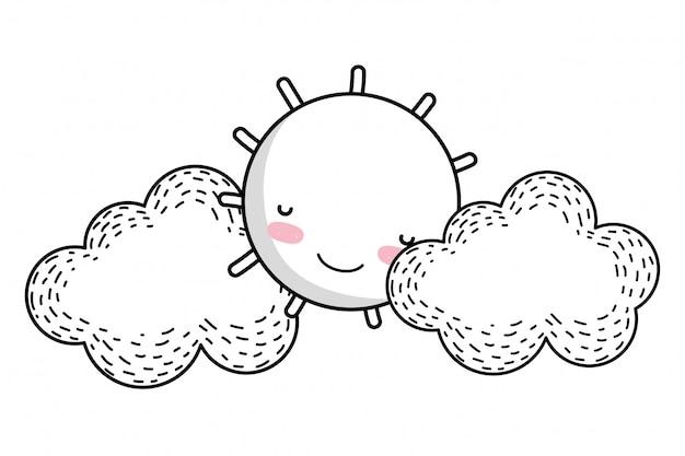 Dessin dessin animé soleil et nuages
