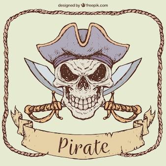 Dessin dessiné de crâne de pirate avec des épées