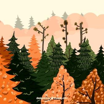 Dessin dessiné avec un paysage automnal