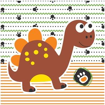 Dessin de dinosaure drôle de bande dessinée animale