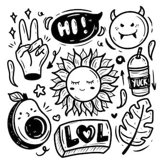Dessin de doodle d'été cool stuff