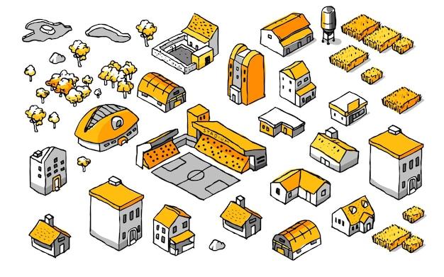 Dessin doodle isometric building set