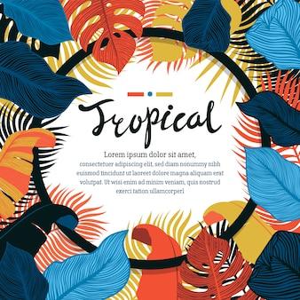 Dessin du cadre de feuilles vives tropicales