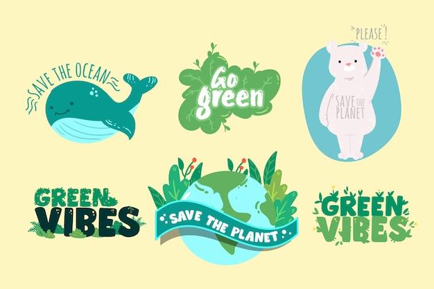 Dessin du concept de badges écologie