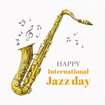 Dessin du concept de la journée internationale du jazz