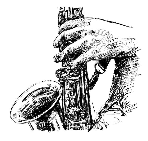 Dessin du musicien joue la main de saxophone dessiner