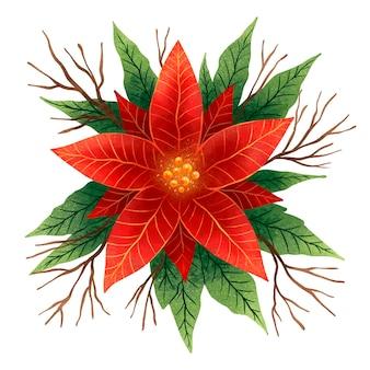 Dessin du nouvel an d'un poinsettia de noël à fleur rouge