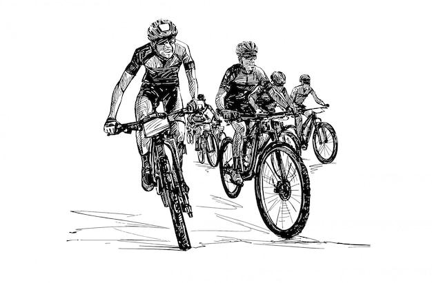 Dessin du tirage au sort de la main de la compétition de vélo de montagne