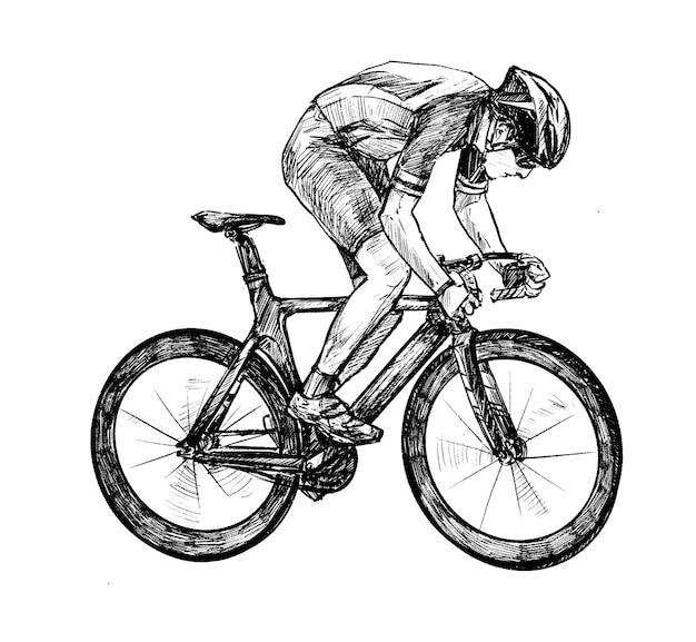 Dessin du tirage au sort de la main de la compétition de vélo