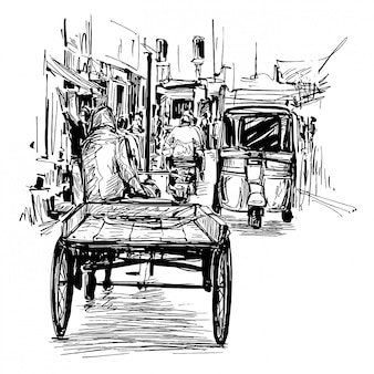 Dessin du tricycle au marché local inde