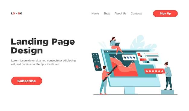 Dessin d'équipe de concepteurs numériques avec un stylo sur la page de destination d'un écran d'ordinateur