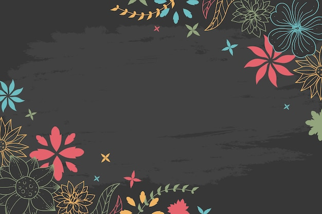 Dessin de fleurs sur le concept de papier peint tableau noir