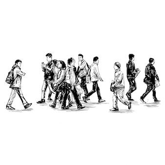Dessin des gens marchent dans la rue au japon