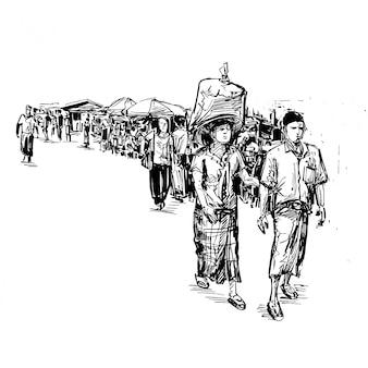 Dessin des gens marchent dans la rue au myanmar