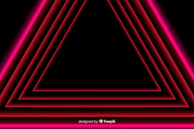 Dessin géométrique en lignes lumineuses rouges