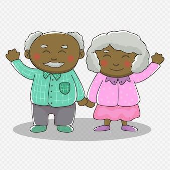 Dessin de grands-parents afro-américains mignons. couple, tenant mains