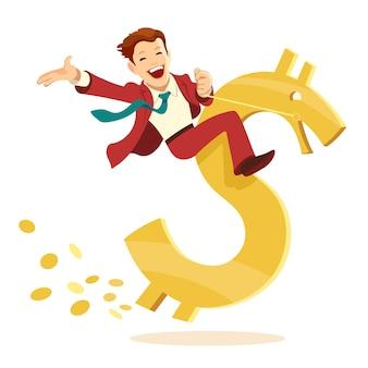 Dessin de l'heureux jeune homme d'affaires monte sur le signe dollar d'or sous la forme d'un cheval