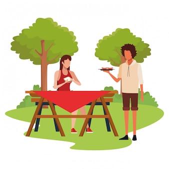 Dessin d'homme et femme en pique-nique