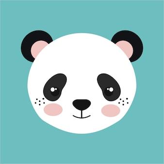 Dessin d'icône isolé panda mignon