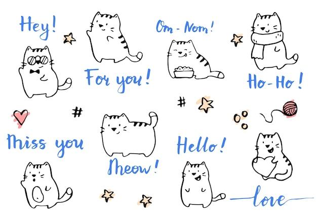 Dessin d'illustration de chats drôles dessinés à la main par un stylo pinceau à encre. style de croquis de griffonnage simple. collection de personnages de chat mignon pour votre carte de voeux, conception de modèle.