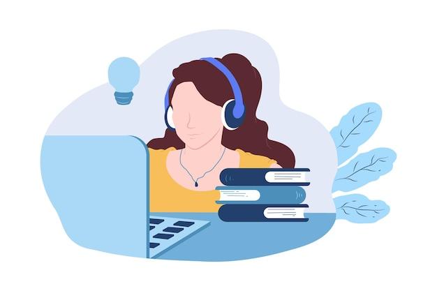 Dessin illustration de croquis d'éducation en ligne femme