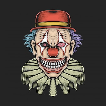 Dessin illustration vectorielle de clown effrayant vintage à la main